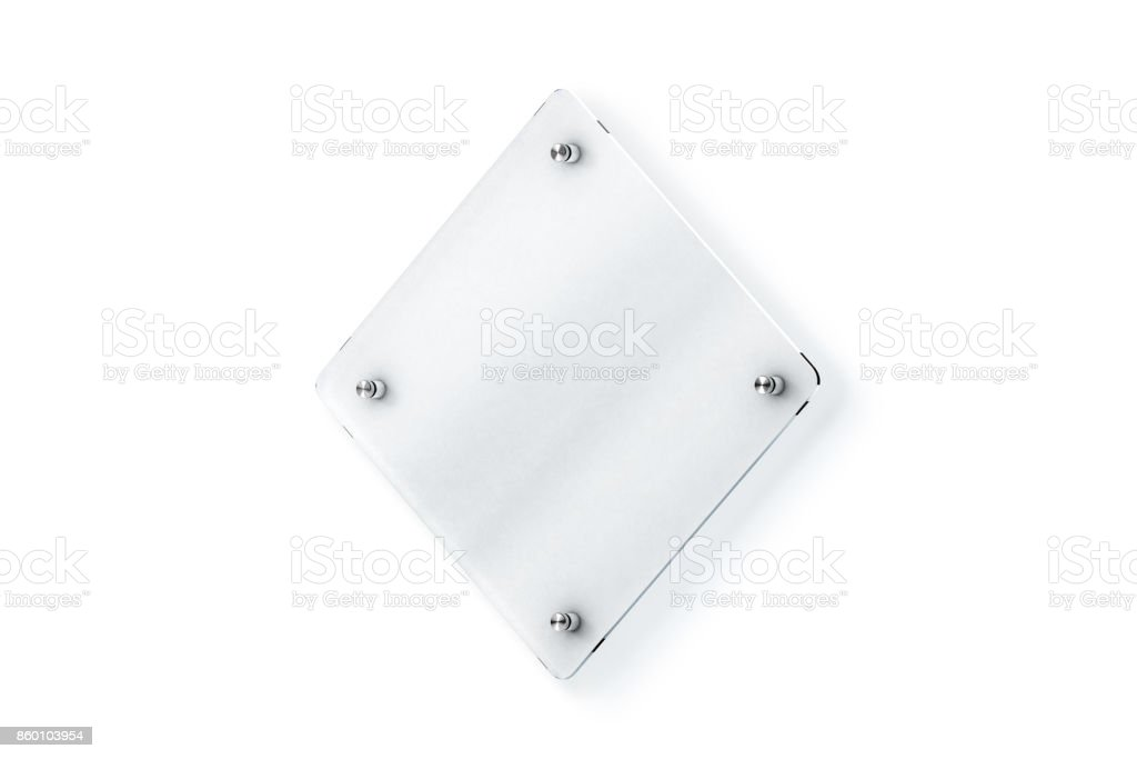 Blank rhombus glass sign plate wall-mounted mock up stock photo