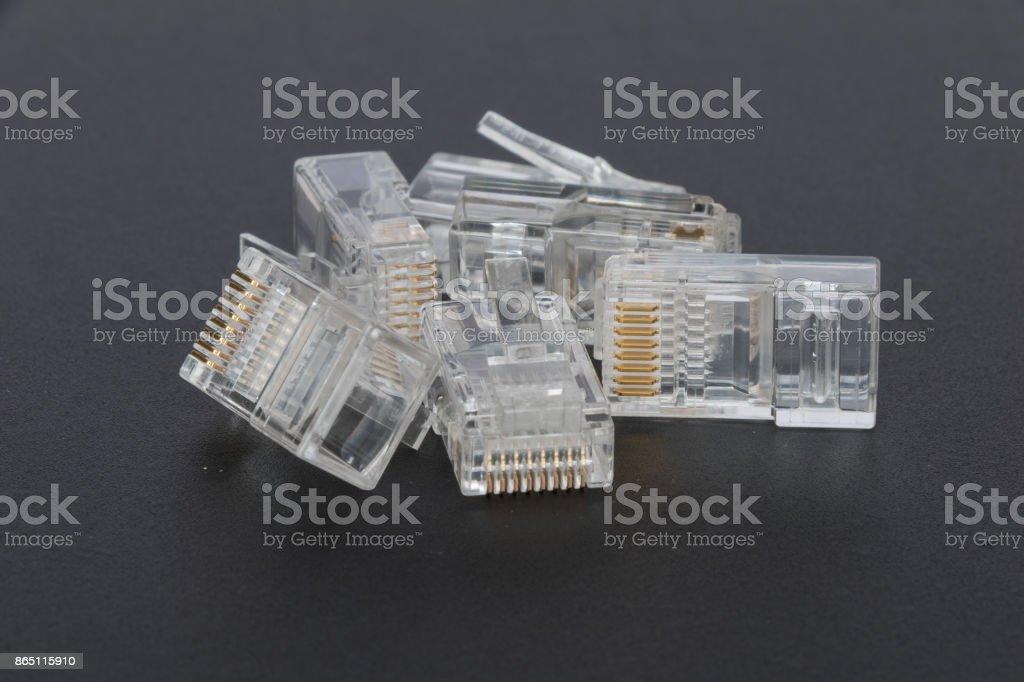 Blank RJ45 ethernet plugs stock photo