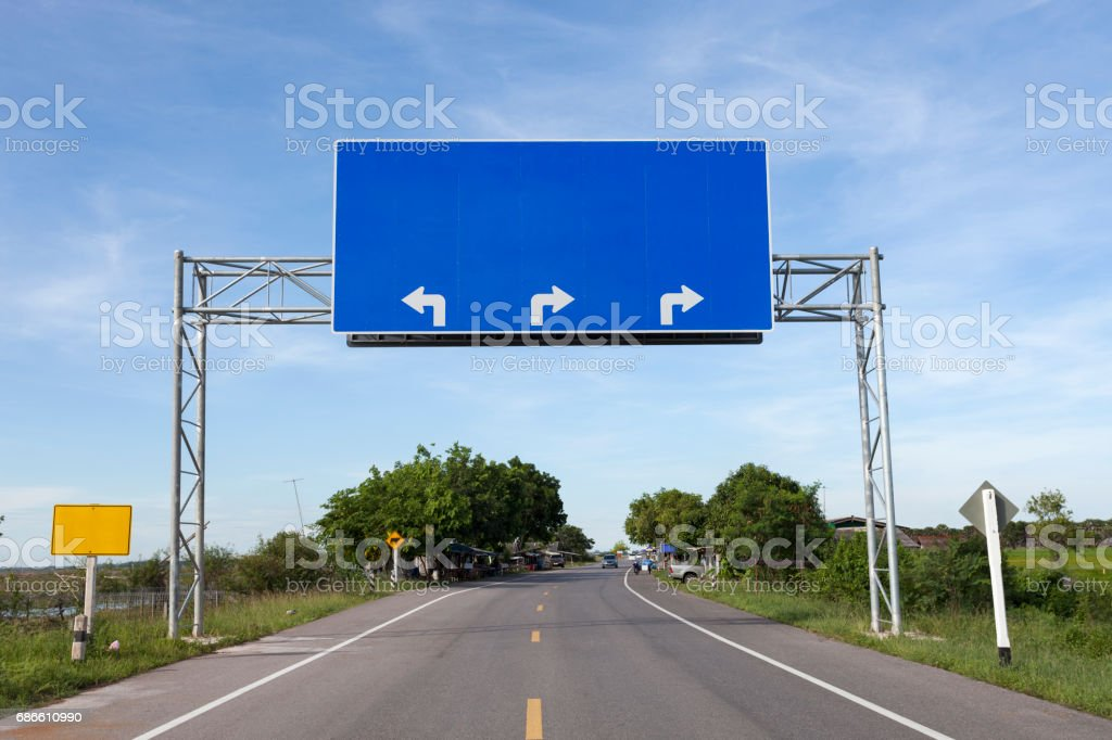 Blank road sign on highway road. royalty-free stock photo