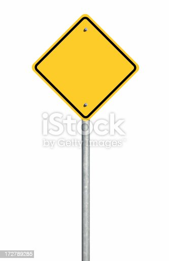 A blank yellow road sign reasy for text