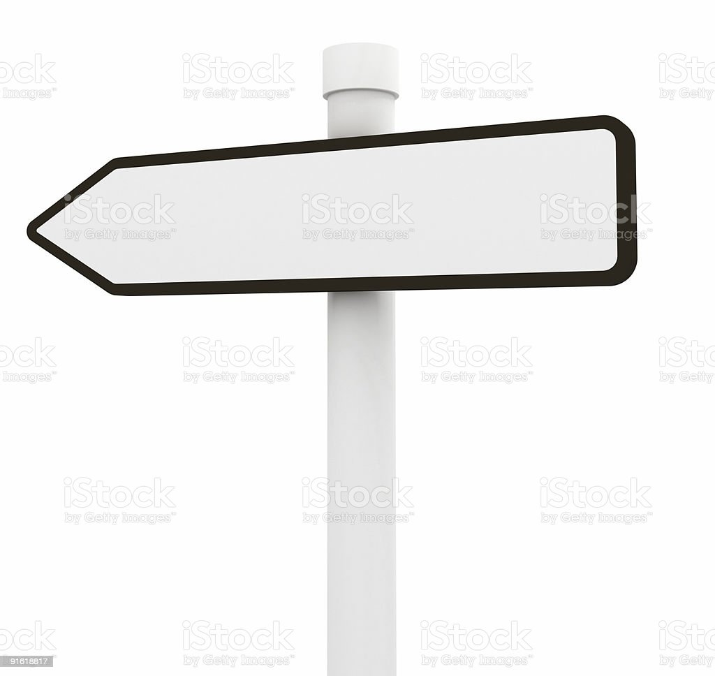 Blank road sign (isolated on white) royalty-free stock photo