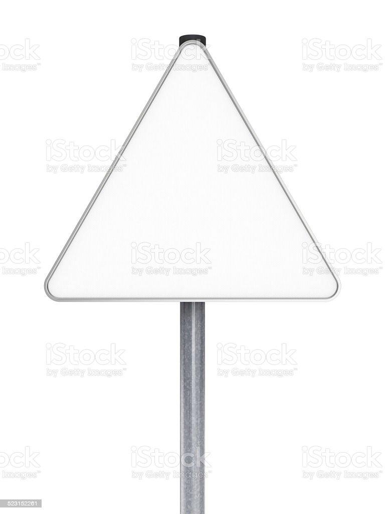Blank Road Sign - Triangle Shape stock photo