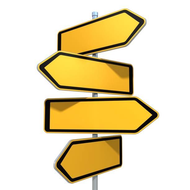 tom vägskyltar som pekar i olika riktningar - stock arrow bildbanksfoton och bilder
