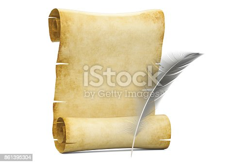 istock Blank roll of papyrus with feather, 3D rendering  isolated on white background 861395304