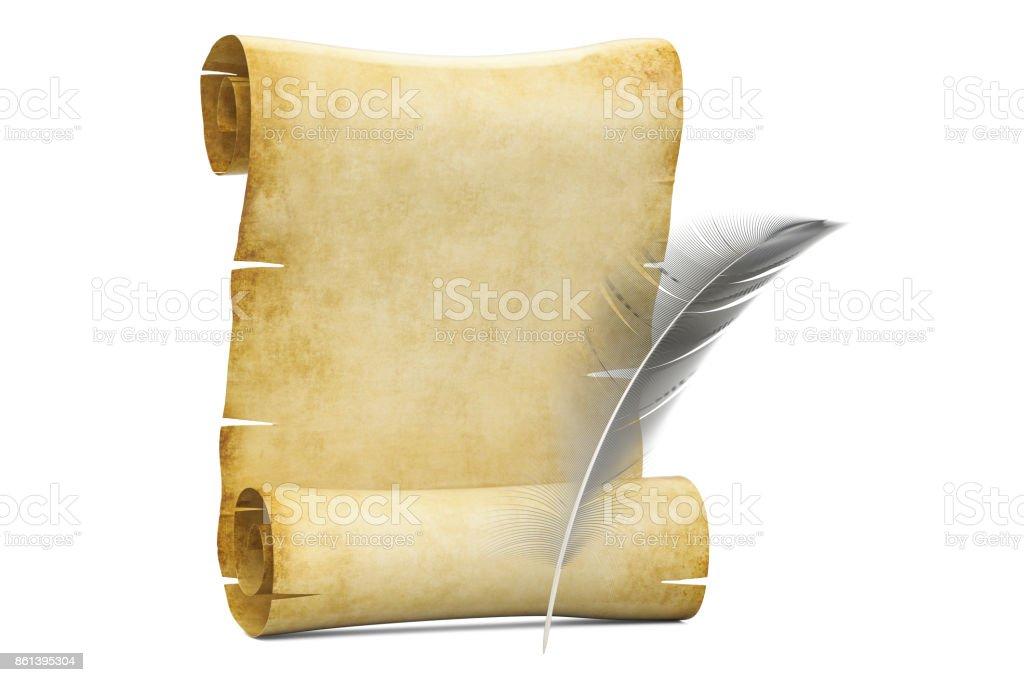 Em branco rolo de papiro com pena, 3D, renderização isolado no fundo branco - foto de acervo