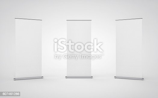 istock Blank roll up banner display on white background. 607461286