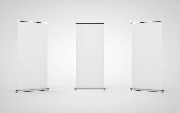 Blank roll up banner display on white background. - foto de acervo