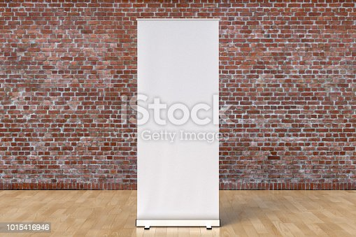 istock blank roll up banner display stands loft interior 1015416946