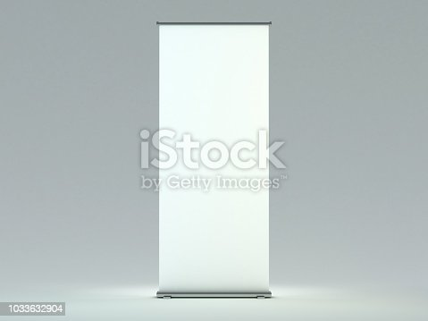 istock Blank roll up banner display. Template mockup. 3D 1033632904
