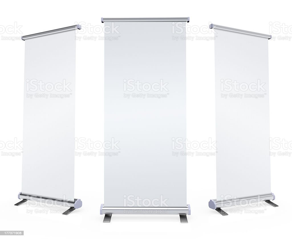Blank roll up banner stock photo