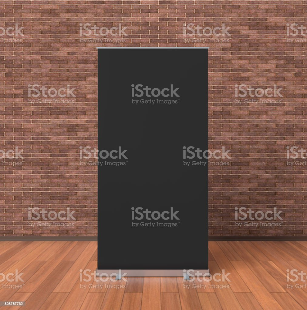 Blank roll up banner stand stock photo