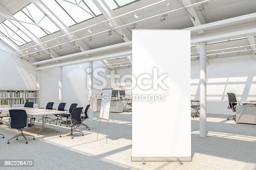 istock Blank roll up banner stands 992226470