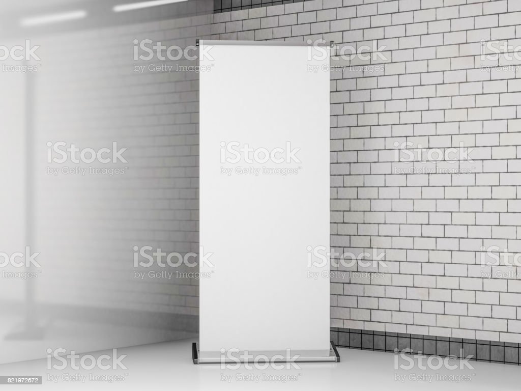 Blank roll up banner. Template mockup. 3D rendering stock photo