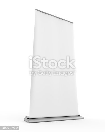 istock Blank Roll Up Display Banner 487727565