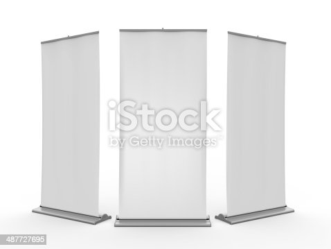 istock Blank Roll Up Display Banner 487727695