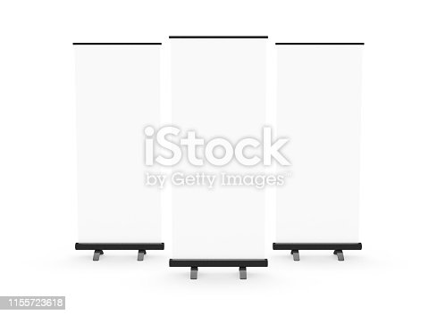 Blank roller banner, isolated.