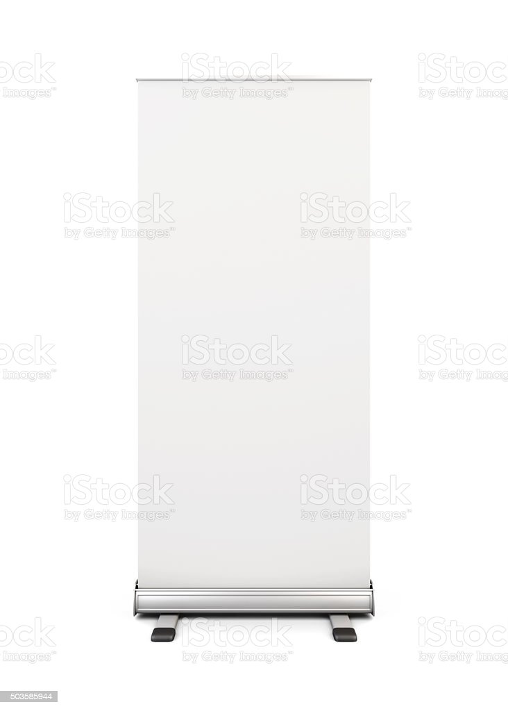 Blank roll-up banner display isolated on white background. 3d. stock photo