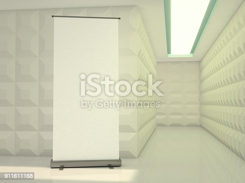 istock Blank rollup banner display. Template mockup. 3D 911611168