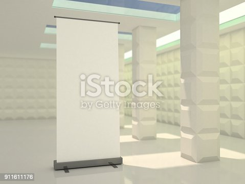 istock Blank rollup banner display. Template mockup. 3D 911611176