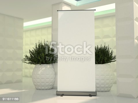 istock Blank rollup banner display. Template mockup. 3D 911611186