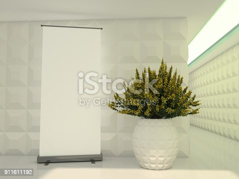 istock Blank rollup banner display. Template mockup. 3D 911611192