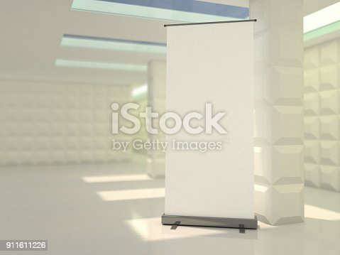 istock Blank rollup banner display. Template mockup. 3D 911611226