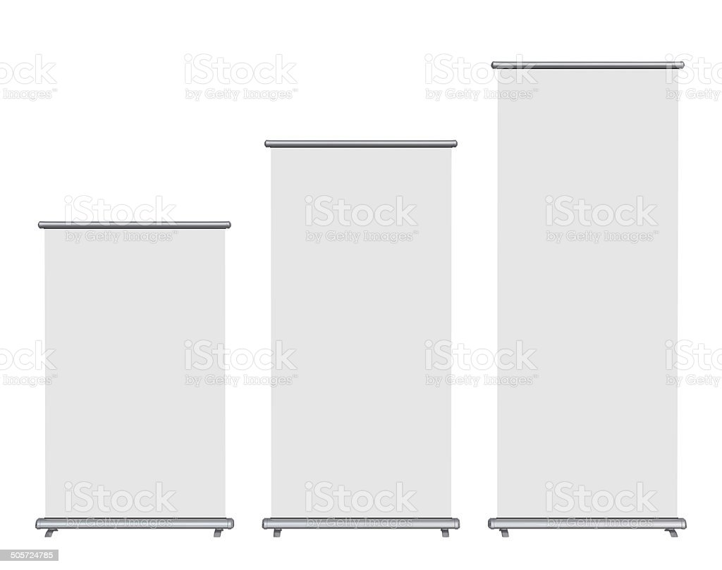 Blank roll-up banner stock photo
