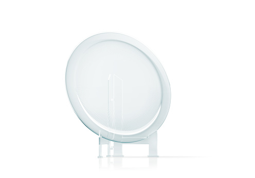 istock Blank round glass platter trophy mockup, 3d rendering 643293284