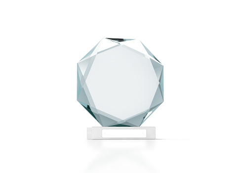Blank round glass trophy mockup, 3d rendering. Empty acrylic award design mock up. Transparent crystal prize plate template. Premium first place prise plaque, isolated on white, front view.