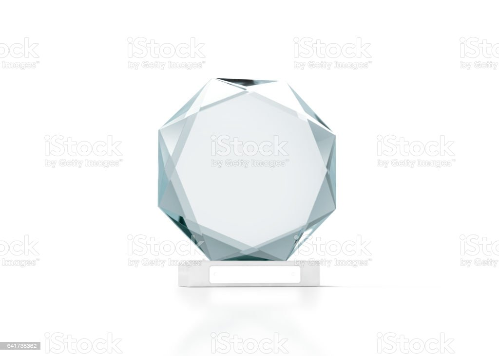 Blank round glass trophy mockup, 3d rendering stock photo