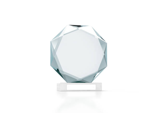 blank round glass trophy mockup, 3d rendering - trophy award stock photos and pictures