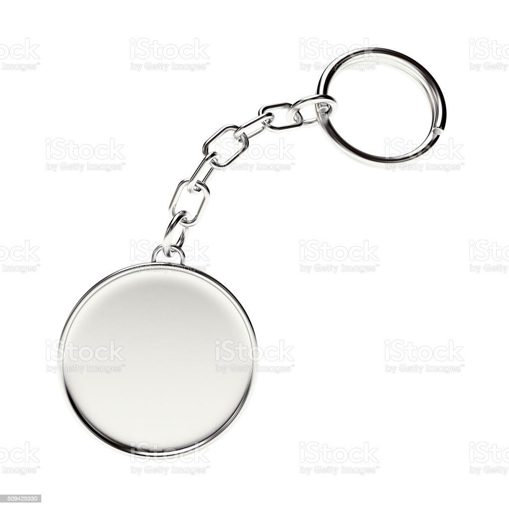 Blank round metal key chain with key ring stock photo