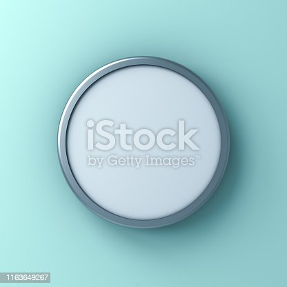 istock Blank round sign or Mock up signage board or advertising round button isolated on light blue green pastel color wall background with shadow 1163649267