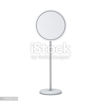 1094574474 istock photo Blank round sign with pole stand Blank mock up information signage board or advertising round billboard isolated on white background with shadow 1162352225