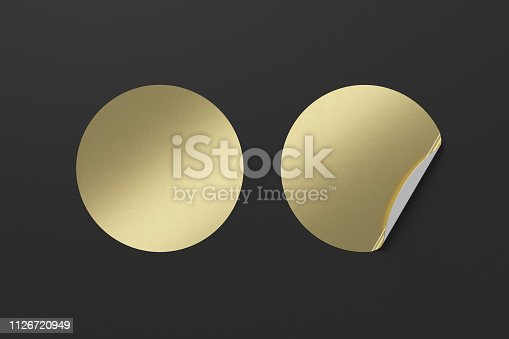 913812376 istock photo Blank  round stickers straightened and with folded corner 1126720949
