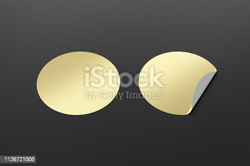 913812376 istock photo Blank  round stickers straightened and with folded corner 1126721005