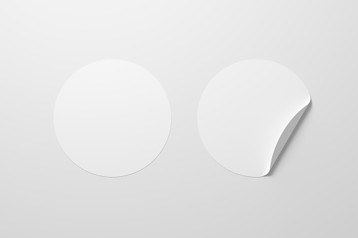istock Blank  round stickers straightened and with folded corner 1126721047