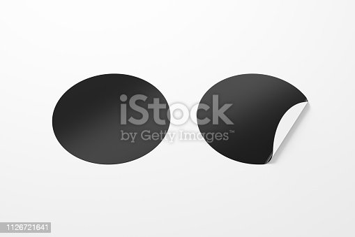 913812376 istock photo Blank  round stickers straightened and with folded corner 1126721641