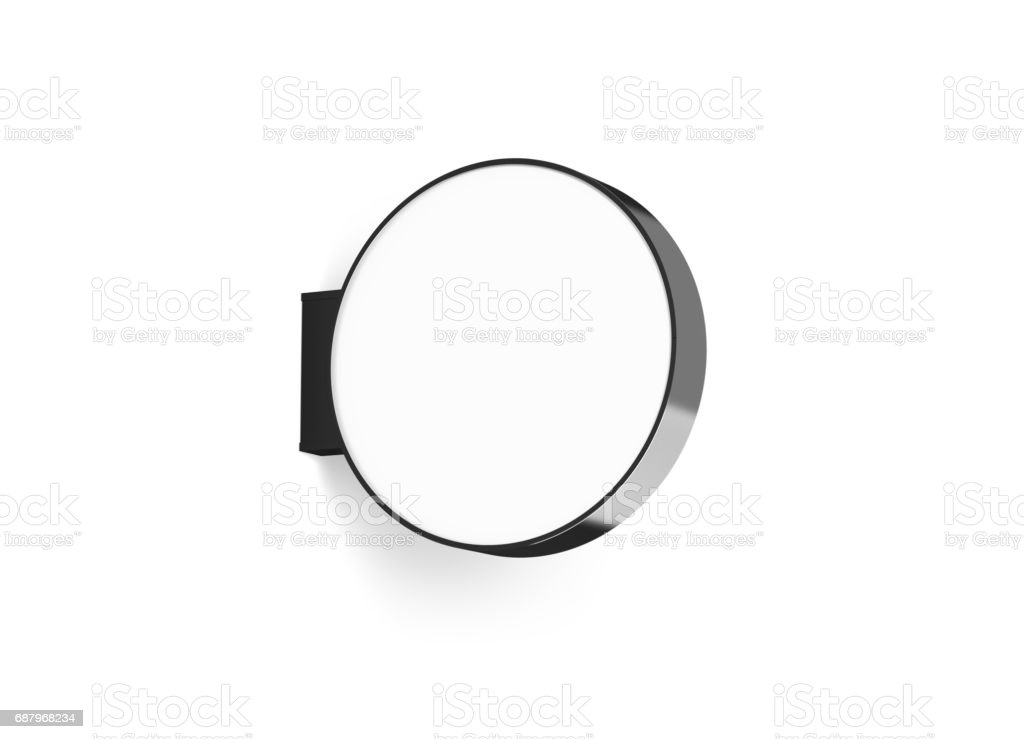 Blank round store signage design mockup isolated stock photo