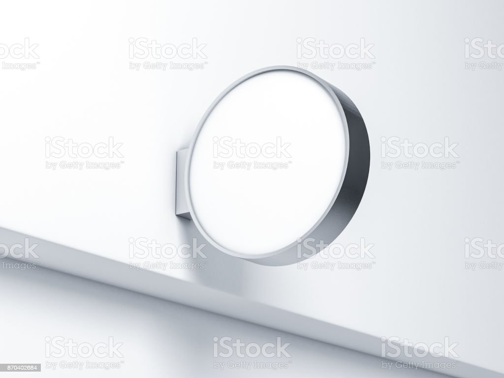 Blank round store Signboard Mockup. Empty circular illuminated shop lightbox template mounted on the wall. Street sign, signage stock photo