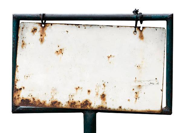 blank rusty sign - roestig stockfoto's en -beelden