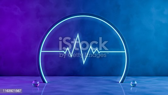 istock 3D Blank scene with neon lights on dark background 1163921567