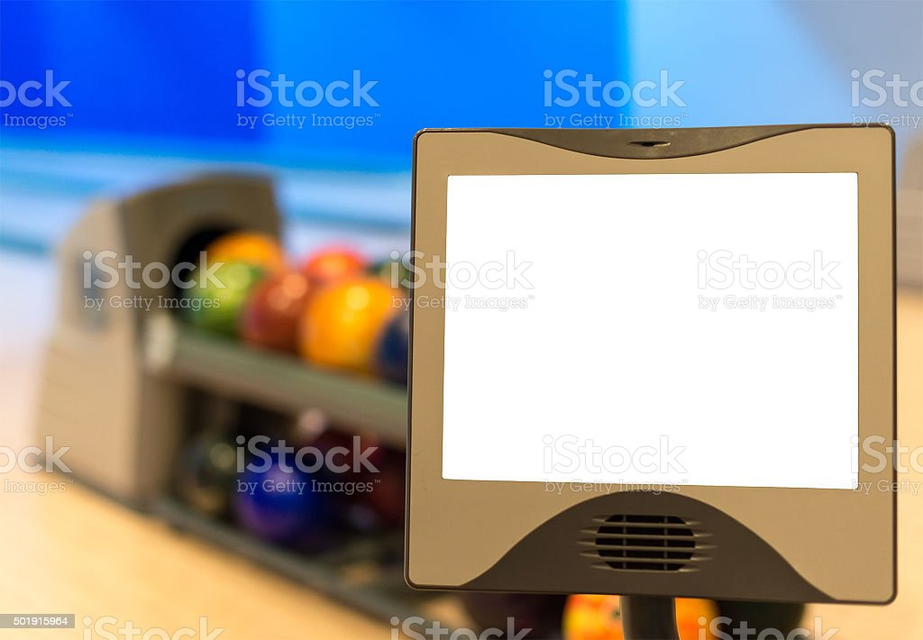 Blank score monitor in bowling club. Place for your text. stock photo