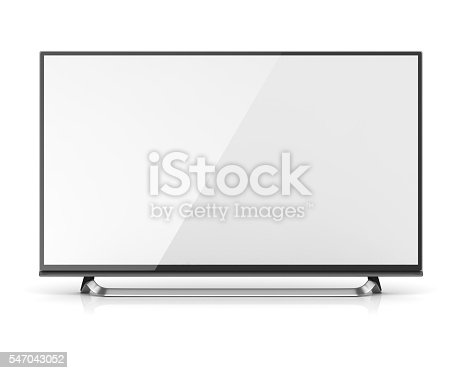 Blank screen 4k hd television , This is a 3d computer generated image. Isolated on white.
