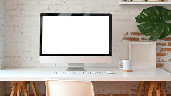Blank Screen Desktop Computer In Minimal Office Room Stock Photo - Download Image Now