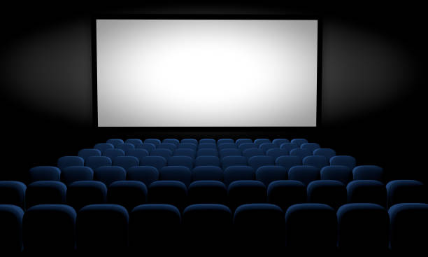 blank screen in an empty movie theater stock photo