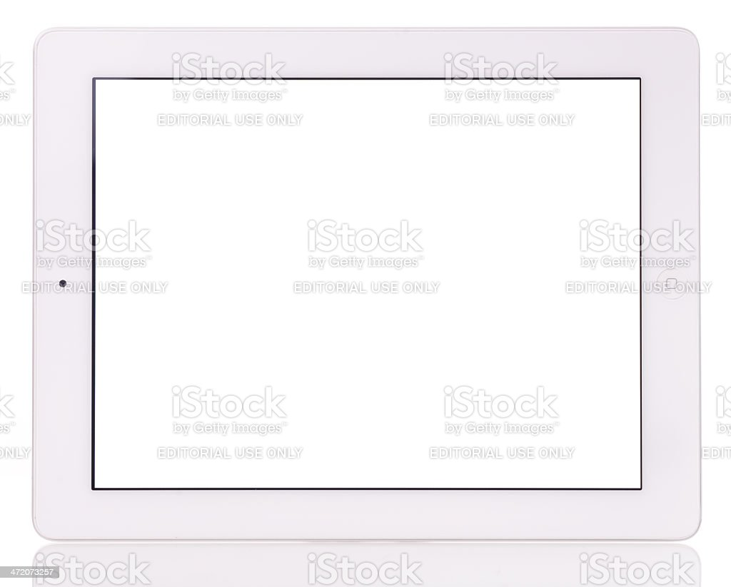 Blank screen iPad 3 on white background stock photo