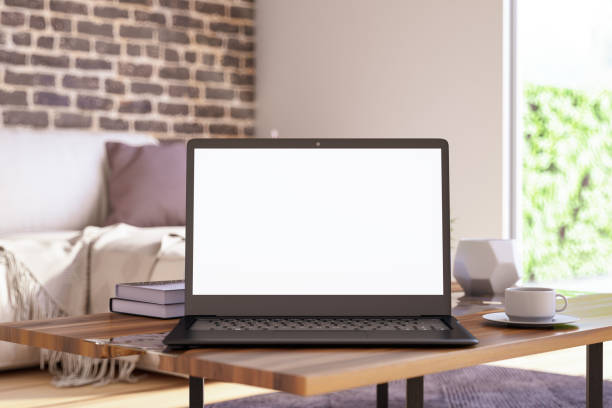Blank Screen Laptop in Living Room Blank Screen Laptop in Living Room. 3D Render blank screen stock pictures, royalty-free photos & images