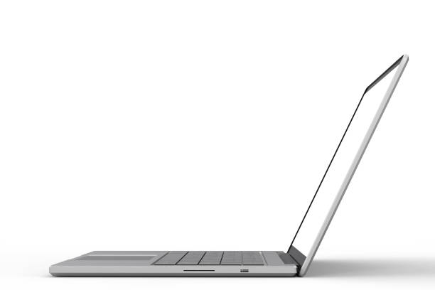 blank screen laptop 3d rendering blank screen computer notebook on white background side view stock pictures, royalty-free photos & images