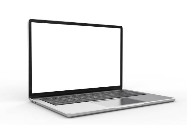 blank screen laptop 3d rendering blank screen computer notebook on white background laptop white background stock pictures, royalty-free photos & images